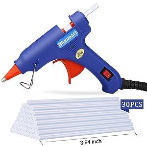 Hot Glue Gun, Blusmart Upgraded Mini Glue Gun with 30pcs Melt Glue Sticks, 20 Watt High Temperature Glue Gun for DIY Crafts, Projects, Fast Home Repairs & Creative Arts, Blue