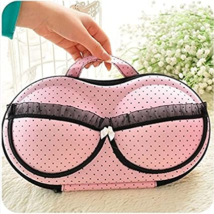 HomeyHouse Portable Protect Bra Underwear Lingerie Case Storage Box Travel  Organizer Bag (Pink)