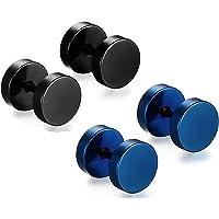 MEENAZ Jewellery Stainless Steel Black Blue Combo Studs Earings/Earring for Men/Boys/Boyfriend/ - BALI-M911