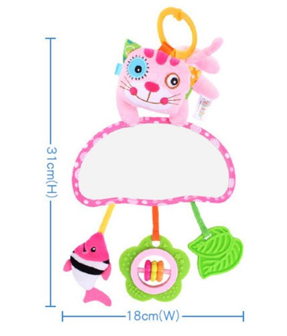 Royarebar Women's Accessories Cosmetic Mirror Kids Infant Lovely Cat Rolling Hand Grasp Mirrors Toy Colorful Safety Mirror Gift