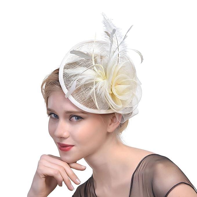 MOMEPE Women Headdress Feather Church Fascinators Hat Kentucky Derby Beige 80ecacb9122