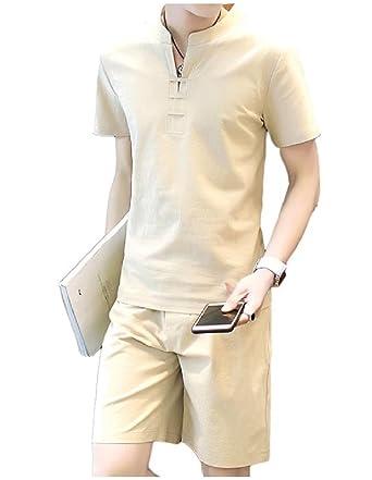 Amazon.com: MLG Hombres Moda sólido de manga corta lino ...
