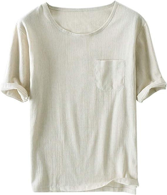 Roiper T-Shirt pour Homme,Chemise Homme en Lin Manches Courtes T-Shirt D/écontract/ée /Ét/é Polos Casual Loisir Respirant Confort