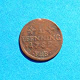 1782 DE German States Rostock 1 Pfennig FHB Coin CU Very Fine