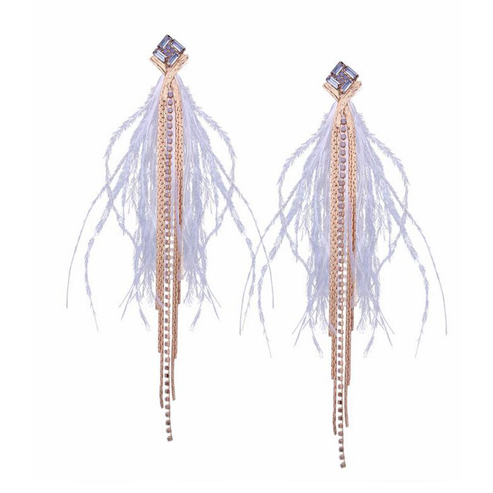 Long Dangle White Feather Tassel Earrings Vintage Light Rhinestone Earrings For Women Jewelry
