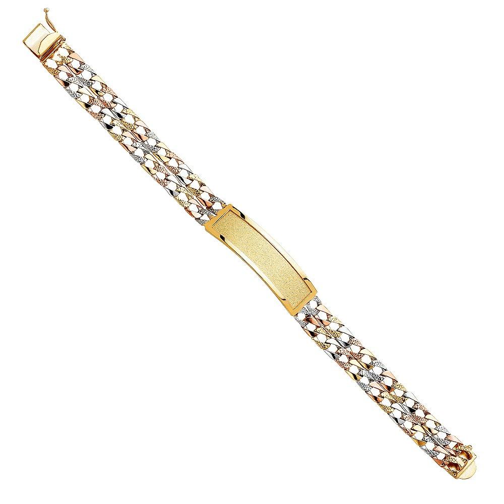 CUSTOM ENGRAVED - 14K Tri Tone Color 2L Nugget Cuban Light Link ID Bracelet - 8.5''