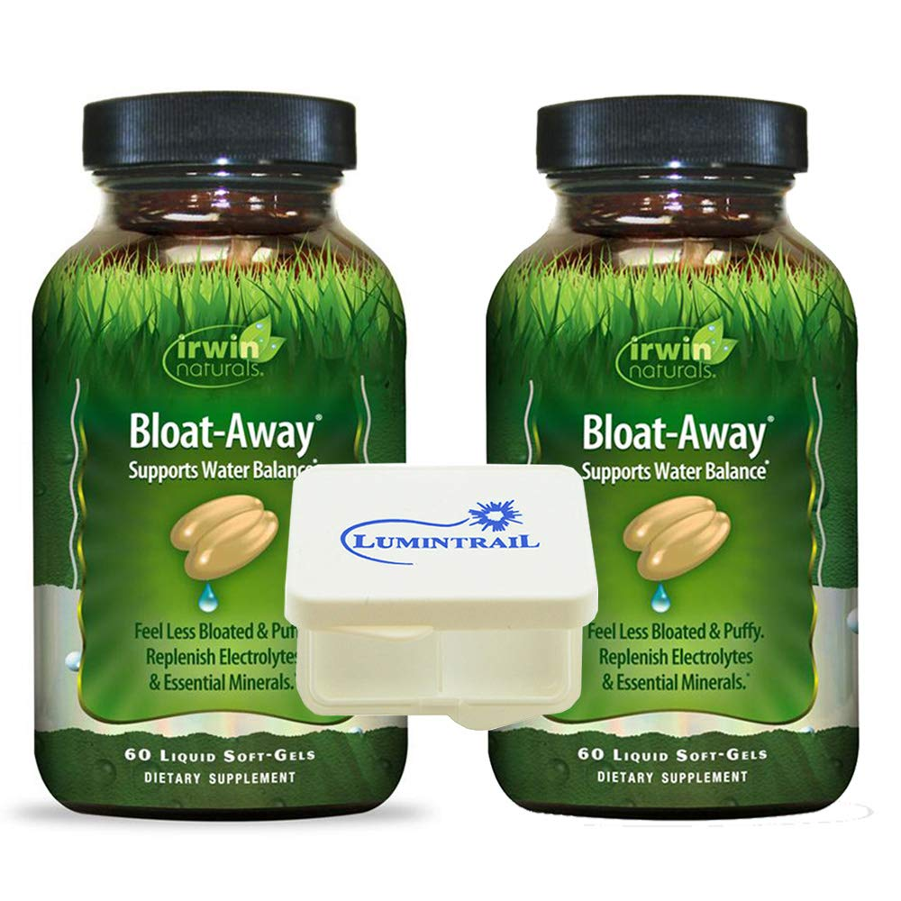 Irwin Naturals Bloat-Away Relief Water Balance Support Replenish Electrolytes & Essential Minerals - 60 (120 Total) Soft-Gels - 2 Pack Bundle with a Lumintrail Pill Case