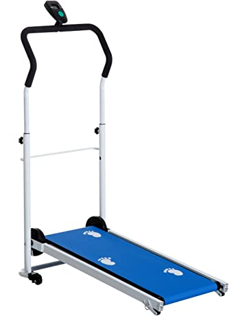 HOMCOM Portable, Folding, Manual Treadmill for Home Gym Cardio Fitness Workout with LCD and 2 Incline Levels (Blue)