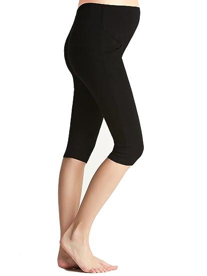 c2cdb5675dd2c Liang Rou Maternity Belly Support Mini-Ribbed Stretch Cropped Leggings Black