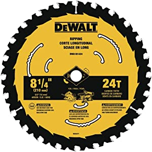 DEWALT DWA181424 8-1/4-Inch 24-Tooth Circular Saw Blade