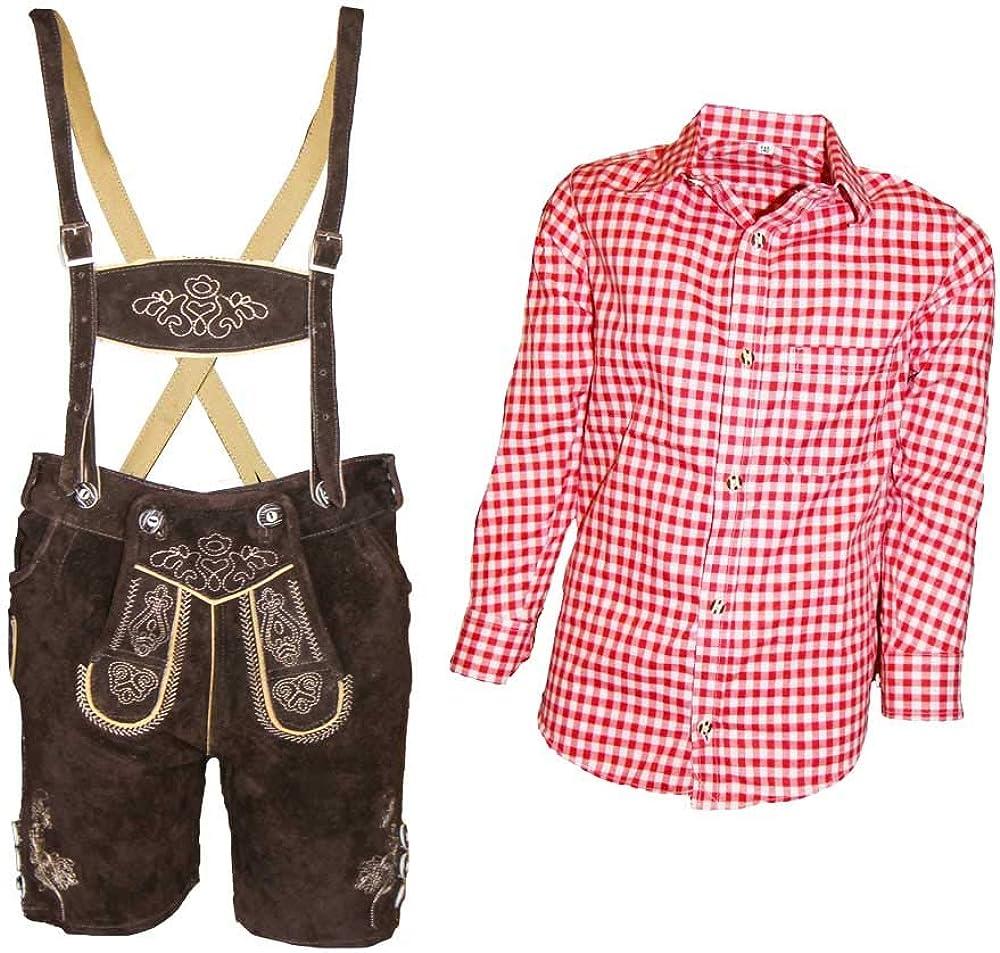 MS-Trachten Leo - Conjunto de Traje Regional para niños, Pantalones de Cuero con Camisa: Amazon.es: Ropa y accesorios
