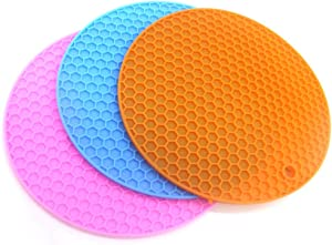 Silicone Pot Holder, Silica Gel Cup Pad Anti-skid Circular Insulation Water Cup Pad Silica Gel Honeycomb Heat Insulation Pad Dishwasher Hot Pads Heat-resistant food extremely safe silicone