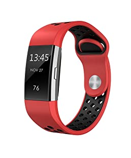 Redvive For Fitbit Charge 2 Bands Sport Silicone,Double Color Replacement Breathable Sport Bands with Air Holes for Fitbit Charge 2, Bracelet Strap Band For Fitbit Charge 2 (Red)