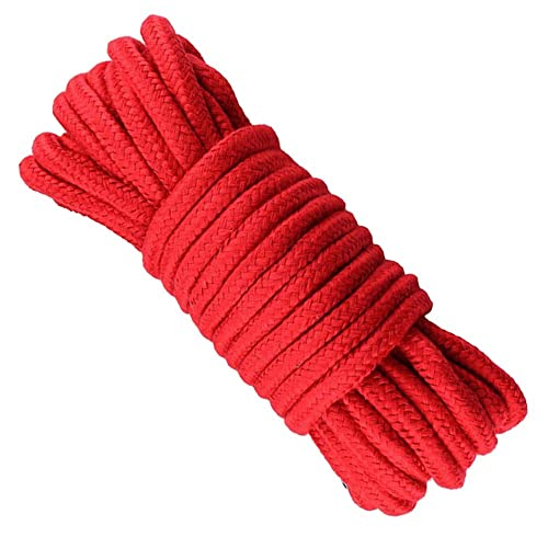 Red Soft Rope,10 M/33 Feet Cotton Rope,8 MM Craft Rope Thick Cotton Twisted Cord
