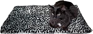 "Thermal Cat Pet Dog Warming Bed Mat - Grey, (Leopard Motif) 22"" L x 19"" W, by Downtown Pet Supply"