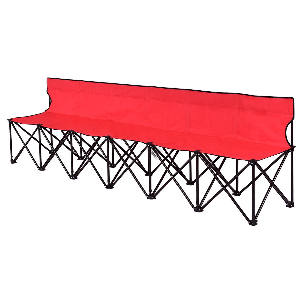Portable 6 Seats Folding Chair Bench Outdoor Sports Camping W/Carrying Bag Red