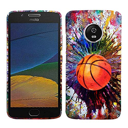 Hard Basketball - Glisten - Designer Hard Plastic Case for Motorola G5 Plus/Moto X 2017 - Vintage Color Basketball Pattern Printed Slim Profile Cute Snap On Back Cover