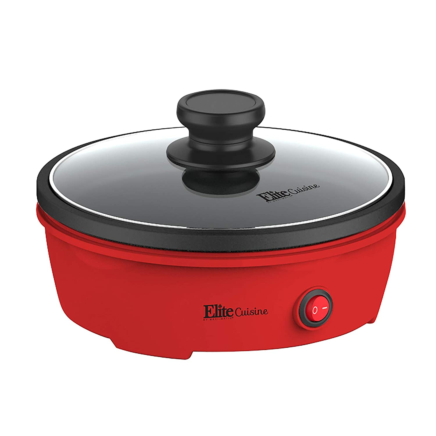 Elite Cuisine EGL-6101 Electric Personal Nonstick Stir Fry Griddle Pan Skillet with Tempered Glass Lid, On/Off Switch, Indicator Light 8.5 inch Red