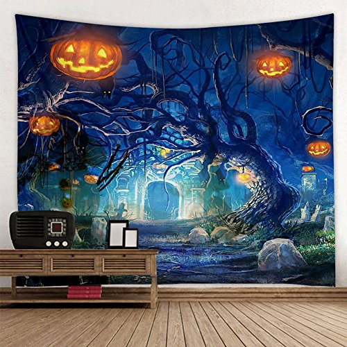 Muuyi Halloween Wall Hanging Tapestry - Halloween Holiday Castle Gates Graves Bats Night Darkness Fear Pumpkin - Tapestry Art Sets for Home Decor Living Room Bedroom Dorm Decor - 90x71 -