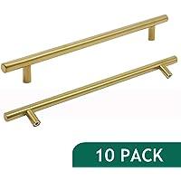 "Probrico Brushed Brass Modern Cabinet Hardware Kitchen Cabinet T Bar Knobs Dresser Pull Bathroom Gold Drawer Handles - 8-4/5"" Hole Spacing - 10 Pack"