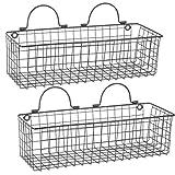 Cheap DII Z02024 Rustic Farmhouse Vintage Hanging Wall Mounted Wire Metal Basket, Set of 2 Medium, Black