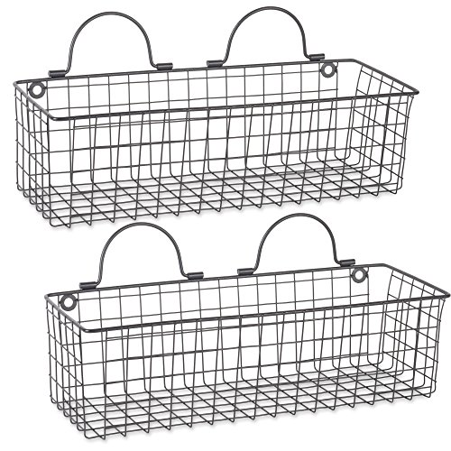 Home Traditions Rustic Farmhouse Vintage Wire Wall Basket, Set of 2 Medium - Black