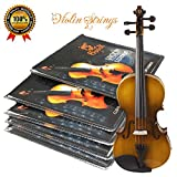 Premium Violin Strings Set|Dominant Violin String Size Fit 3/4 4/4|G D A & E (1 Set)|Stainless Steel Core With Nickel Silver Wound|Ball End-Medium Gauge & Warmest Tones|Best Gift For Beginner Student
