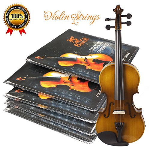 Premium Violin Strings Set|Dominant Violin String Size Fit 3/4 4/4|G D A & E (1 Set)|Stainless Steel Core With Nickel Silver Wound|Ball End-Medium Gauge & Warmest Tones|Best Gift For Beginner Student - G 4 Nickels