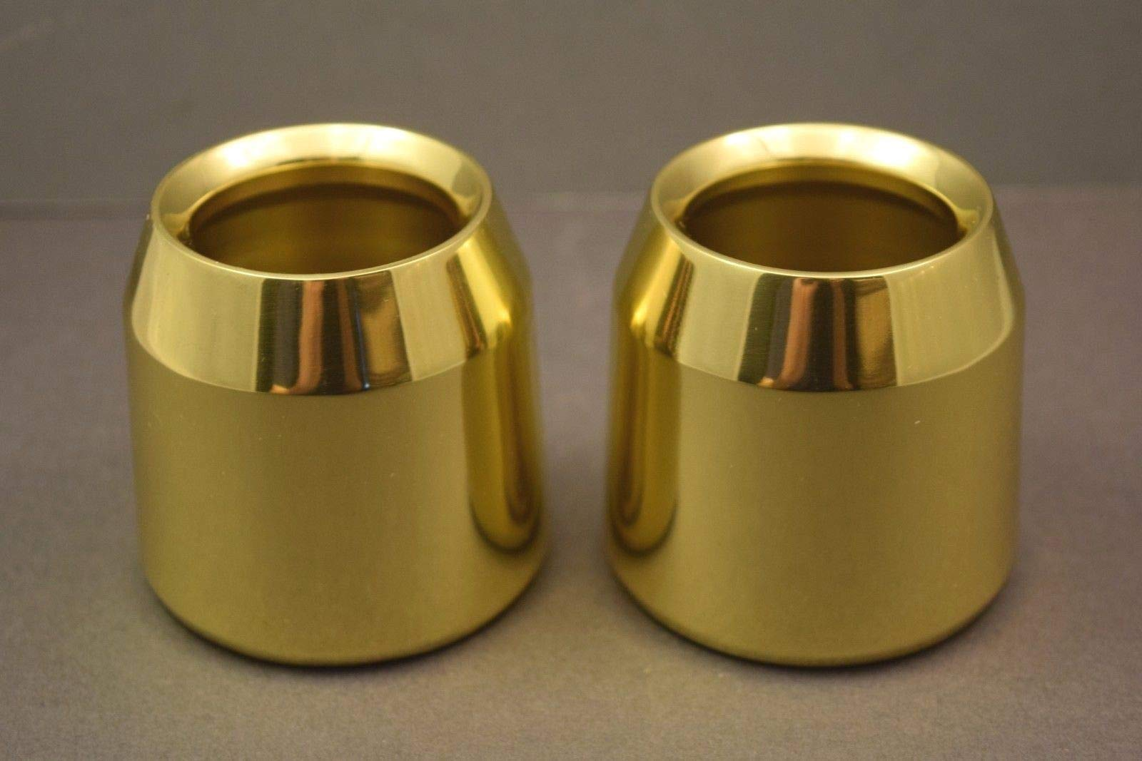 Pair of Solid Brass Church Candle Followers - 2'' Size