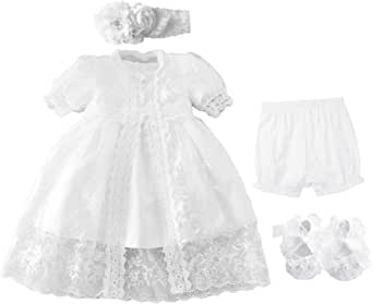Bow Dream Christening Gown Baby Girl Lace Toddler Pure White Special Occasion Dresses 3Pcs