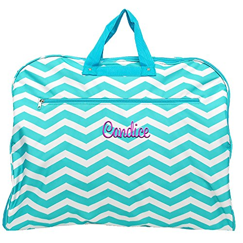 "Monogrammed Aqua Chevron Garment Bags for Dress, Clothing, Suits, Travel or Storage 38"" ()"