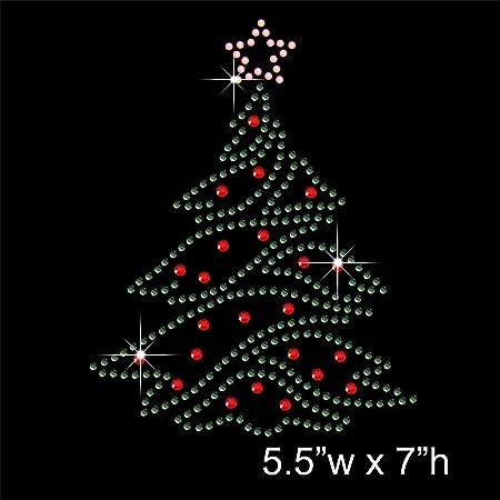 Diamante Hotfix Iron on Transfer Motif Applique Christmas Tree Rhinestone