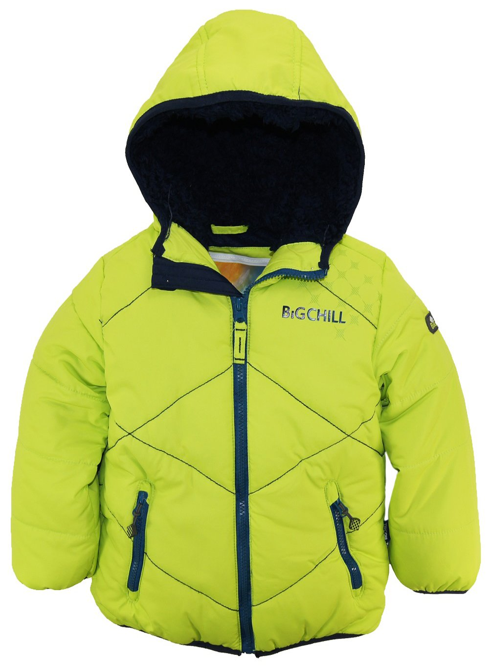 Big Chill Little Boys' Quilted Stitching Puffer Jacket with Sherpa Hood, Manits, 5
