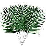 Pannow 6 Pack Artificial Tropical Palm Plant Leaves, Fake Faux Palm Leaves for Home Kitchen Party Supplies Tropical Leaves Decorations
