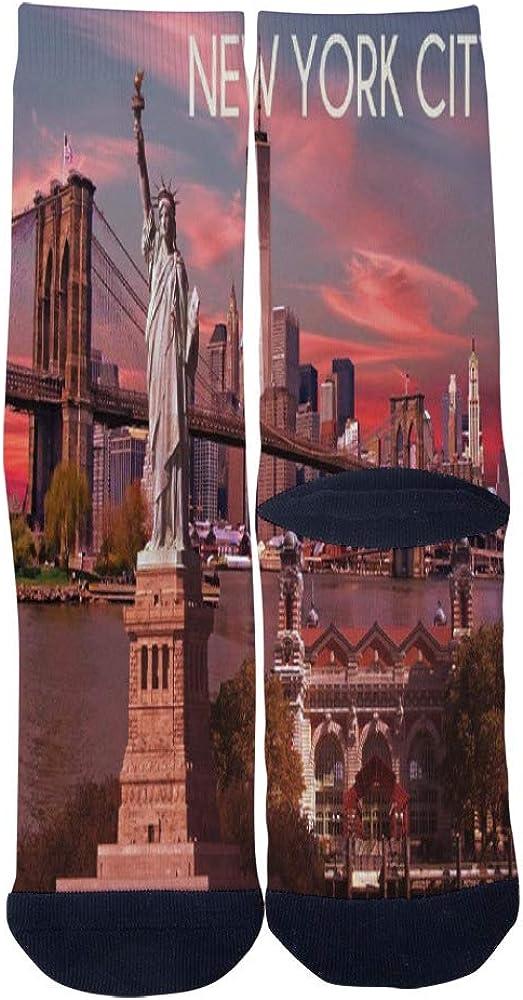 New York City Poster Statue of Liberty Socks Mens Womens Casual Socks Custom Creative Crew Socks