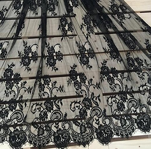 KENLACE 3Meter/lot 150cm wide Eyelashes lace trim off white black cothes lace fabric diy accessories (Black)