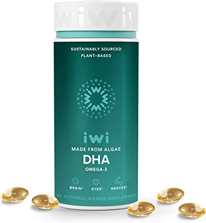 iwi DHA Supports Brain Development, Promotes Strong Joints & Bones and Eye Health   Vegan Algae Omega 3 DHA EPA   Made in The USA   30 Day Supply