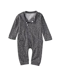 LUNIWEI Infant Kids Baby Boy Girl Clothes Zipper Romper Bodysuit Jumpsuit