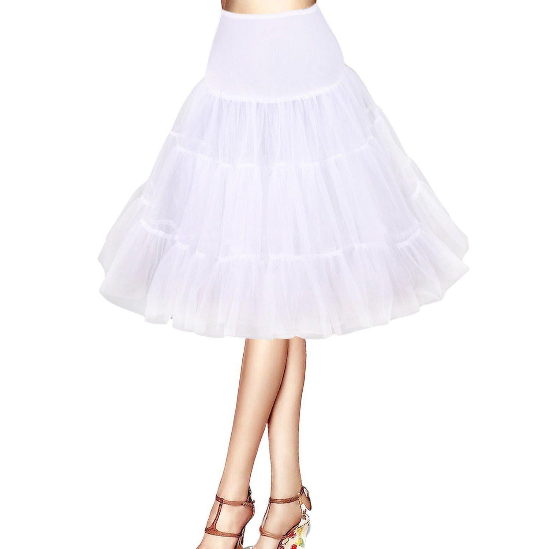 Boolavard ® 50s 26'Retro Sottogonna battenti Vintage Petticoat Fancy Net Gonna Rockabilly Tutu (Bianco) Boolavard ®