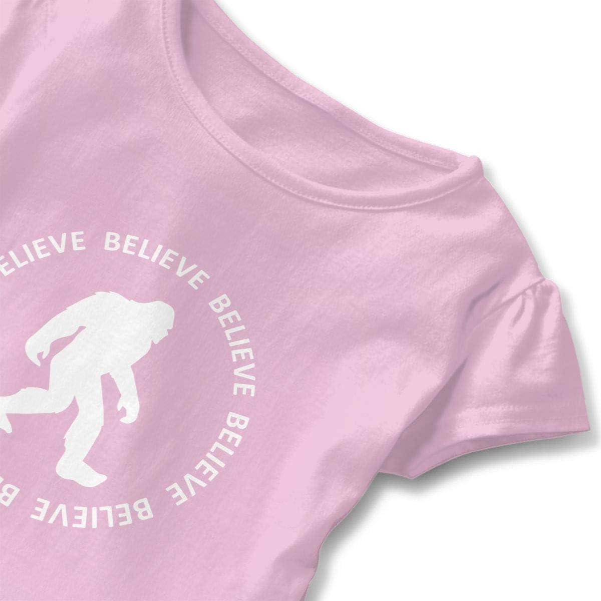 SDHEIJKY Toddler Girls Ruffle T-Shirt Bigfoot Sasquatch Believe Short Sleeve 2-6T