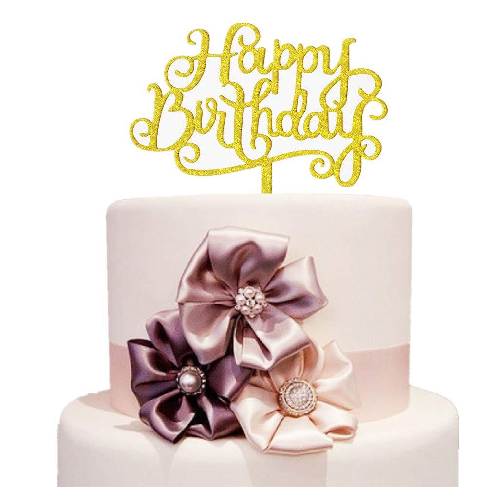 Amazon Com Birthday Cake Topper Gold Glitter Letters Flags Banner