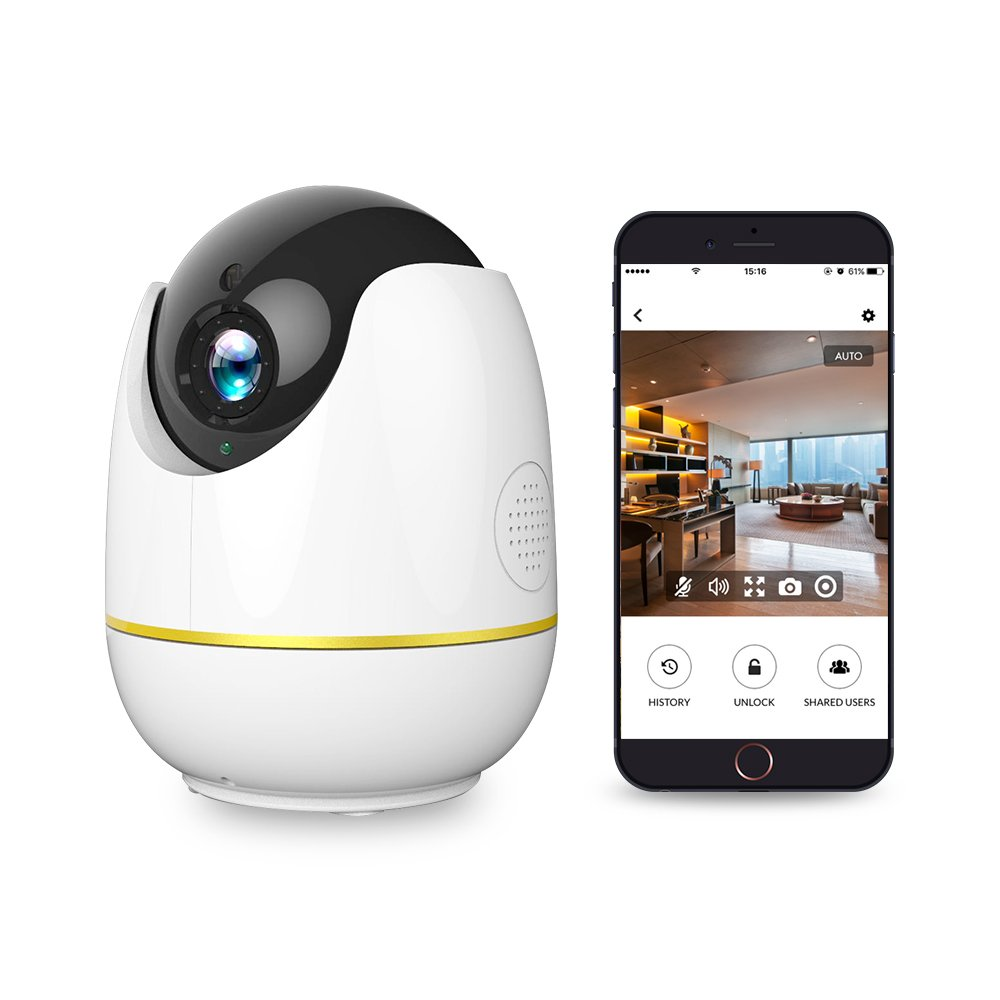 WiFi Baby Monitor, 1080P Wireless Security Camera 2 Way Audio and Night Vision, Motion Tracker, Compatible with Alexa Echo Show, Indoor Surveillance Camera with Cloud Storage for Baby/Dog/Cat (White)