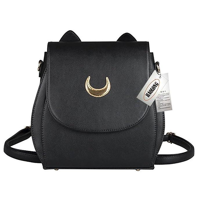 e6aefdf31d3f Tsukino Usagi PU Leather Cat Shape Chain Backpack Women Girls Handbag  Shoulder Bag Rucksack (Black Backpack) (Black)  Amazon.ca  Clothing    Accessories