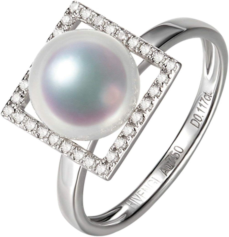 Daesar Anillo de Mujer Plata Anillos de Compromiso Oro Blanco 18K Cuadrado con Perla Diamante 0.117ct