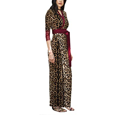 817e72e03c6d1 Women Leopard Print Wrap V Neck High Waist Lace Long Sleeve Swing Maxi Dress  (Color