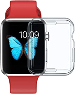 (2 Pack) Case for Apple Watch Series 2 & Series 3 38mm with Built in TPU Screen Protector,All Around Protective Case High Definition Clear Ultra-Thin Cover Compatible for iwatch (2 Pack)