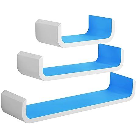 woltu floating shelves blue wooden shelves pack of 3 u shaped rh amazon co uk