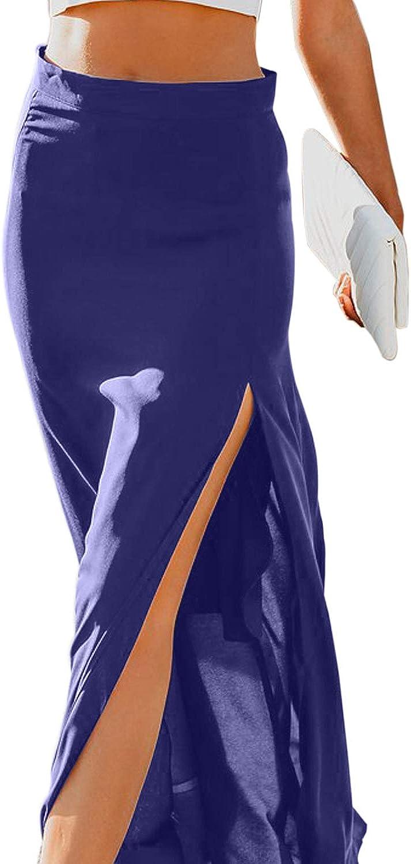 Mujer Verano Color Sólido Medio Cuerpo Falda Cintura Alta Falda ...