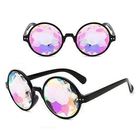 Delleu Kaleidoscopio Rainbow Steampunk Gafas de Sol de Cristal para soldar Ojos Proteger Gafas Vintage color1