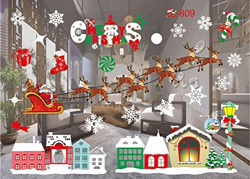ENJOHOS Christmas Town and Deer Windows Stickers Removable Mural Window Cling Decal Sticker for Showcase DIY Door Wall Decor Art